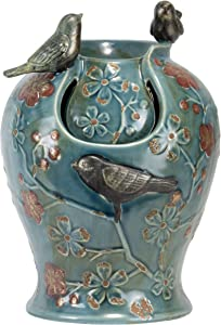 Foreside Home & Garden Blue Verdigris Bird Indoor Water Fountain with LED Light and Pump