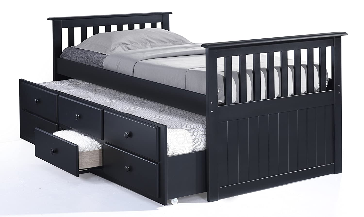 Captains beds black - Amazon Com Broyhill Kids Marco Island Captain S Bed With Trundle Bed And Drawers Twin Black Kitchen Dining