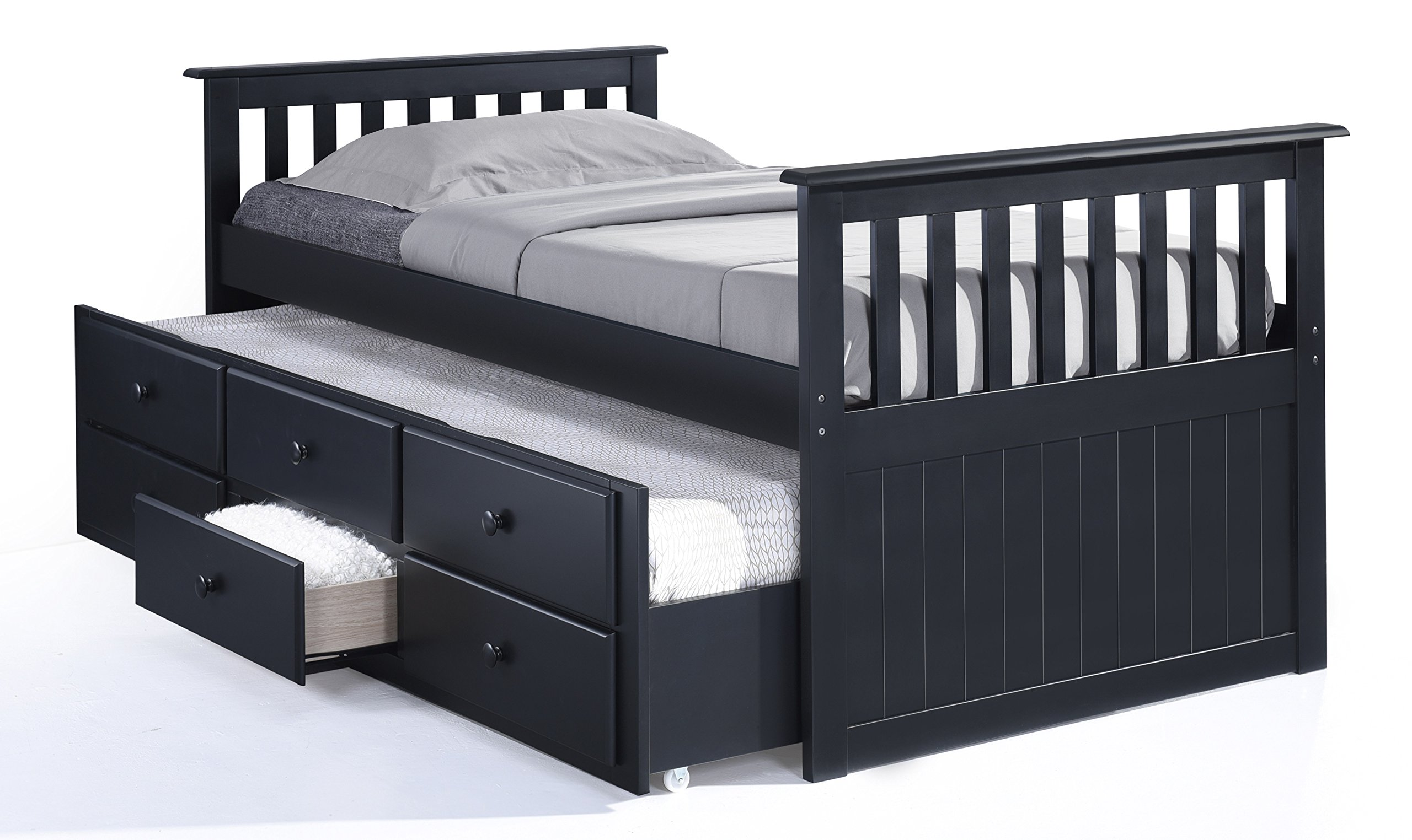Broyhill Kids Marco Island Captain's Bed with Trundle Bed and Drawers, Twin, Black, Twin-Sized Mattress (Not Included), Bunk Bed Alternative, Great for Sleepovers, Underbed Storage/Organization by Stork Craft