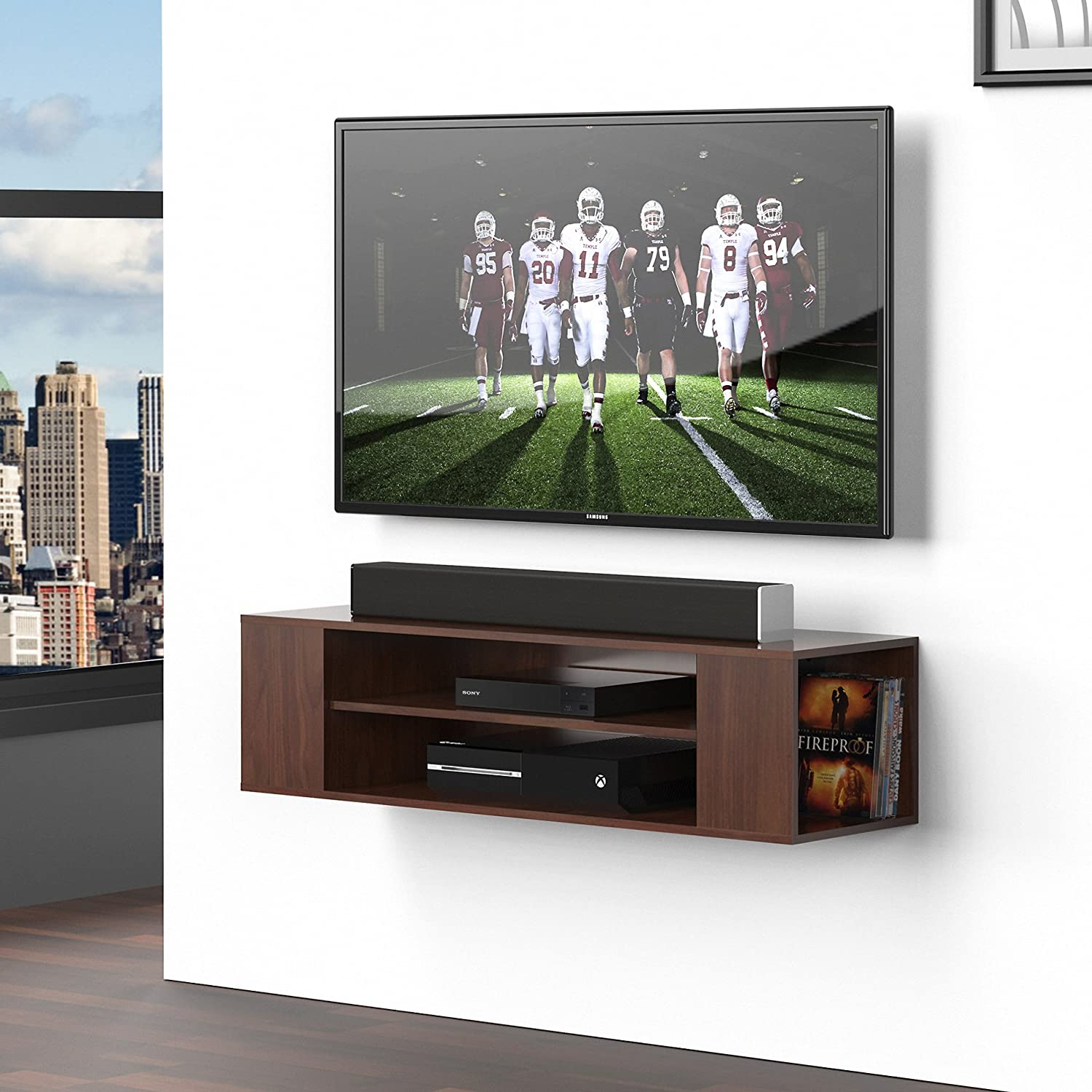 Amazon.com: Fitueyes DS210001WB-G Wall Mounted Media Console Shelf ...