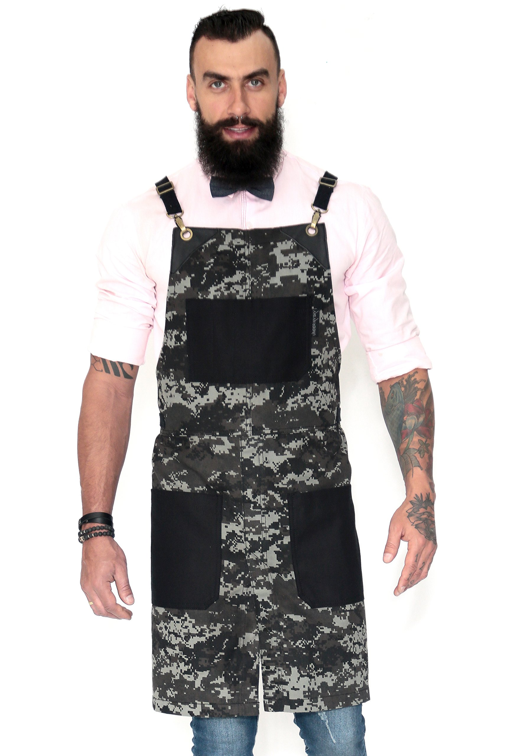 Under NY Sky Cross-Back Apron - Night Camo Twill - Split-Leg - Black Leather
