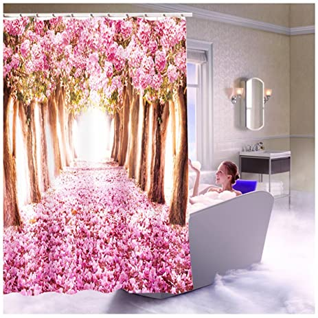 Christmas Shower Curtain 3D Printed Cherry Blossoms Waterproof Shower  Curtain Wedding Shower Curtain Home Decor U0026