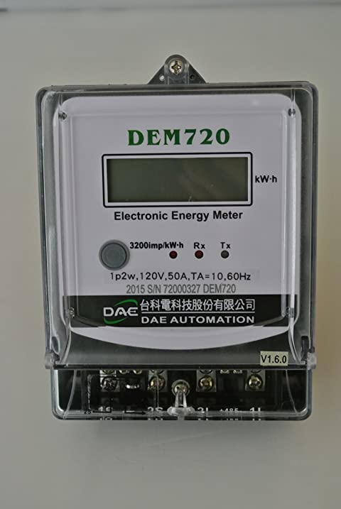 DAE DEM720-1 Electric kWh Submeter, Internal CT, 1P2W (1 hot wire, 1 ...