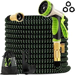 Takuvan Expandable Garden Hose 100ft - Expanding Water Hose with 9 Way Spray Nozzle and 3/4
