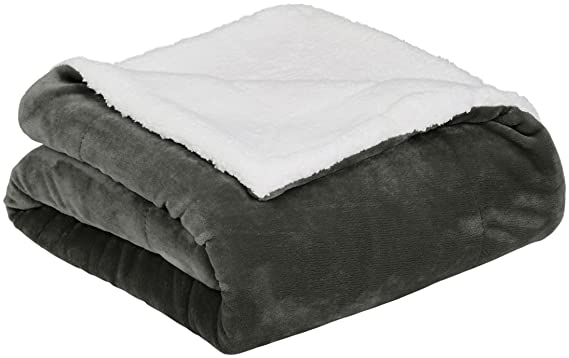 AmazonBasics Soft Micromink Sherpa Blanket - Twin, Charcoal best electric blanket