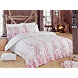Elizabed Coretta Light Pink and Pink Single Size DUVET COVER 160 x 220 cm BED SHEET 160 x 240 PILLOW CASE 50 x 70