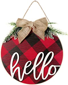 Jetec Christmas Wooden Hello Sign Buffalo Plaid Hello Rustic Front Door Decor Rustic Farmhouse Porch Decoration Wooden Hanging Sign for Home, Christmas, Outdoor