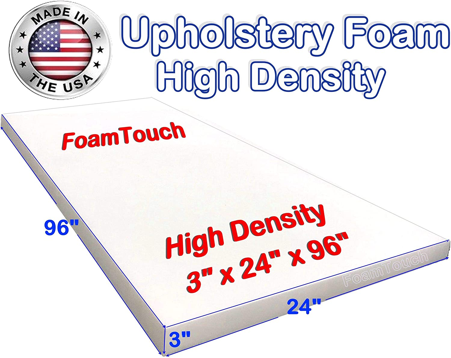 Upholstery Cushion Made in USA GoTo Foam 6 Height x 36 Width x 72 Length 44ILD Firm