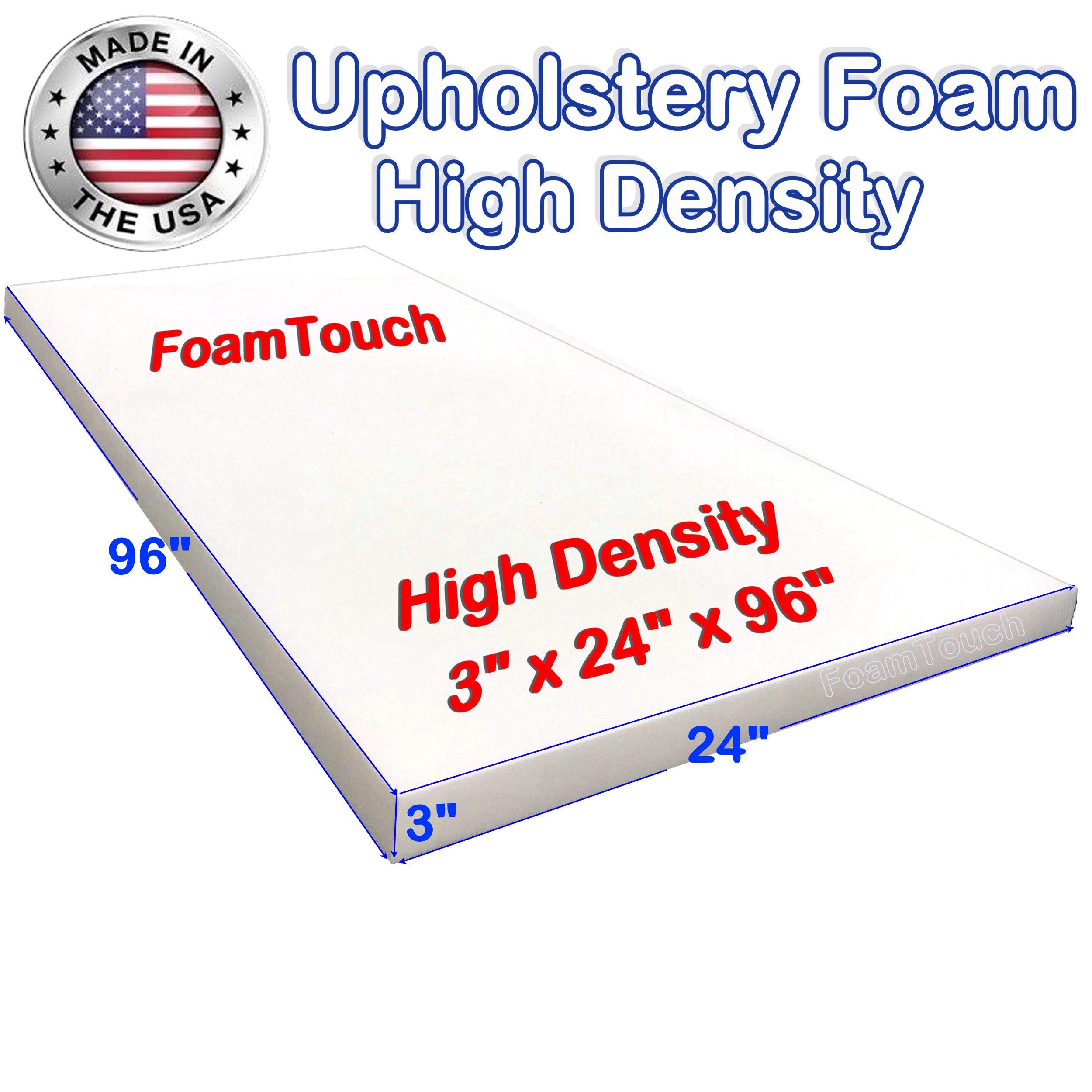 FoamTouch Upholstery Foam Cushion High Density 6 Height x 27 Width x 68 Length Made in USA