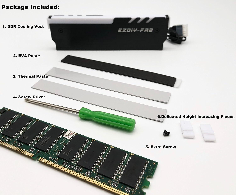 ... enfriador RGB DDR Chaleco Disipador Fin Haz para DIY PC de parte Overclocking Mod DDR3 DDR4 (compatible con ASUS Aura Sync, Gigabyte RGB Fusion y MSI ...