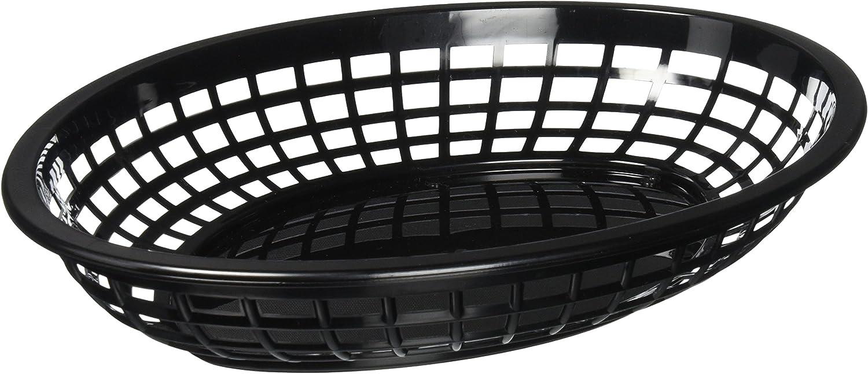TABLECRAFT (1084BK) - OVAL PLASTIC SERVING BASKET, BLACK (PACK OF 12)