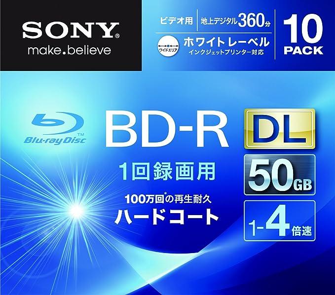 Sony BLU-Ray Disc 10 Pack - 50GB 4X BD-R DL White Inkjet Printable ...