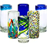 MEXART Artisan Crafted Hand Blown 6 Defferent Design Collection Recycled Glass Shots Glasses