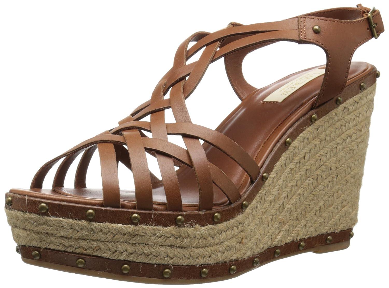 Lauren Ralph Lauren Women's Stacey Wedge Sandal B0194GPH3K 10 B(M) US|Polo Tan Burnished Vachetta