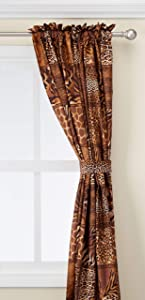 4 Piece Curtain Set: 2 Jungle Safari Brown Giraffe Zebra Panels & 2 Tie Backs