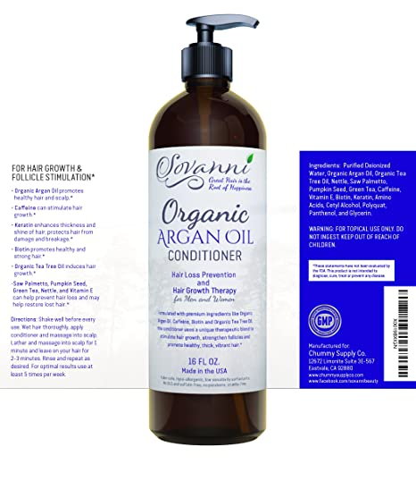 ... Hair Growth Therapy Conditioner with Organic argan oil Tea Tree Oil Caffeine Keratin Biotin Saw Palmetto and other DHT blockers for Men & Women 16fl oz ...