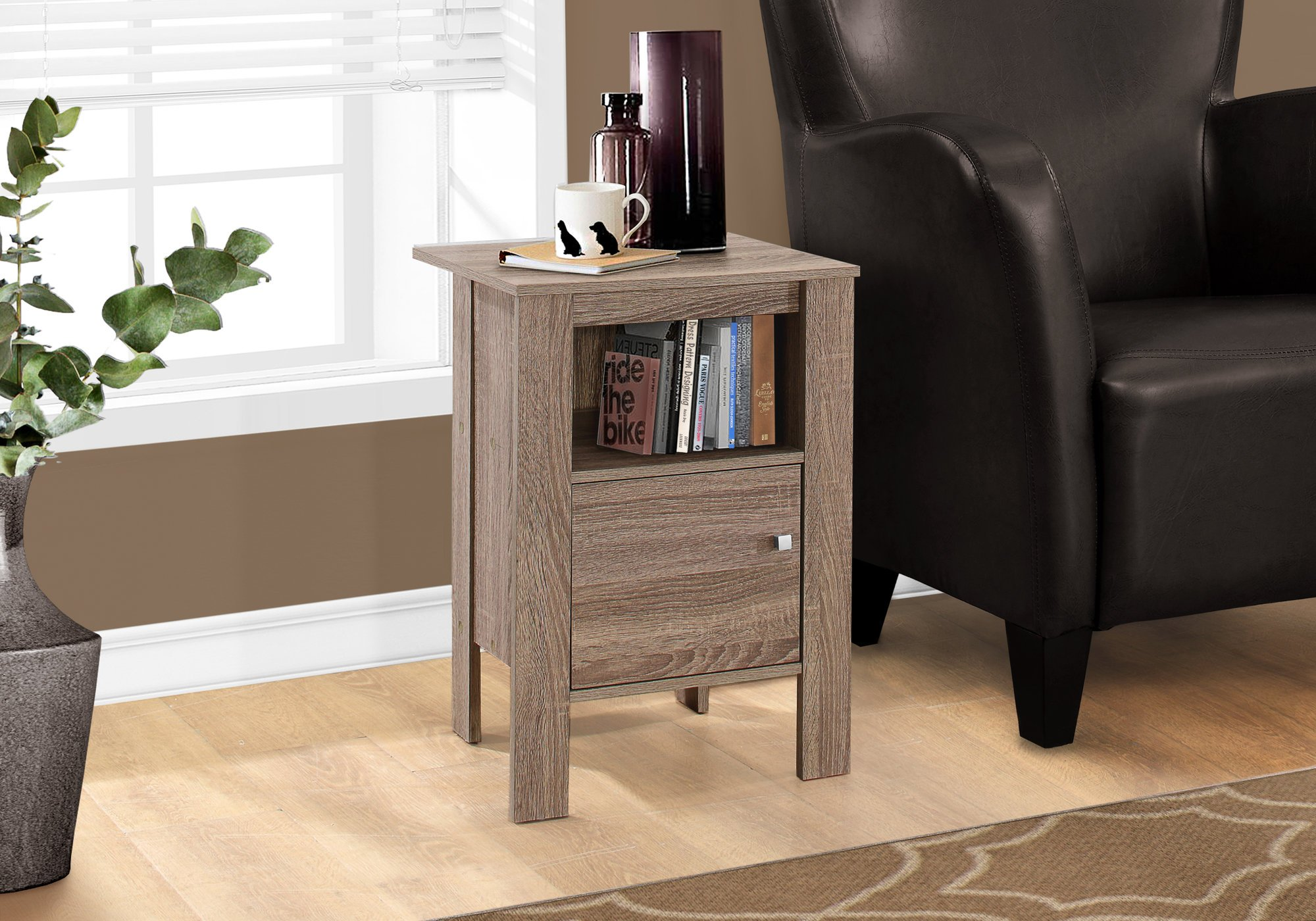 Monarch Specialties I 2136 Accent Table Night Stand with Storage, Dark Taupe