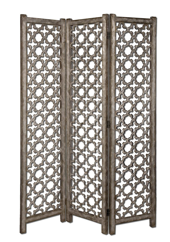 Amazon Com Silver 73 Floor Screen Skyla Decorative Wood Medallion Room Divider Panel Screens