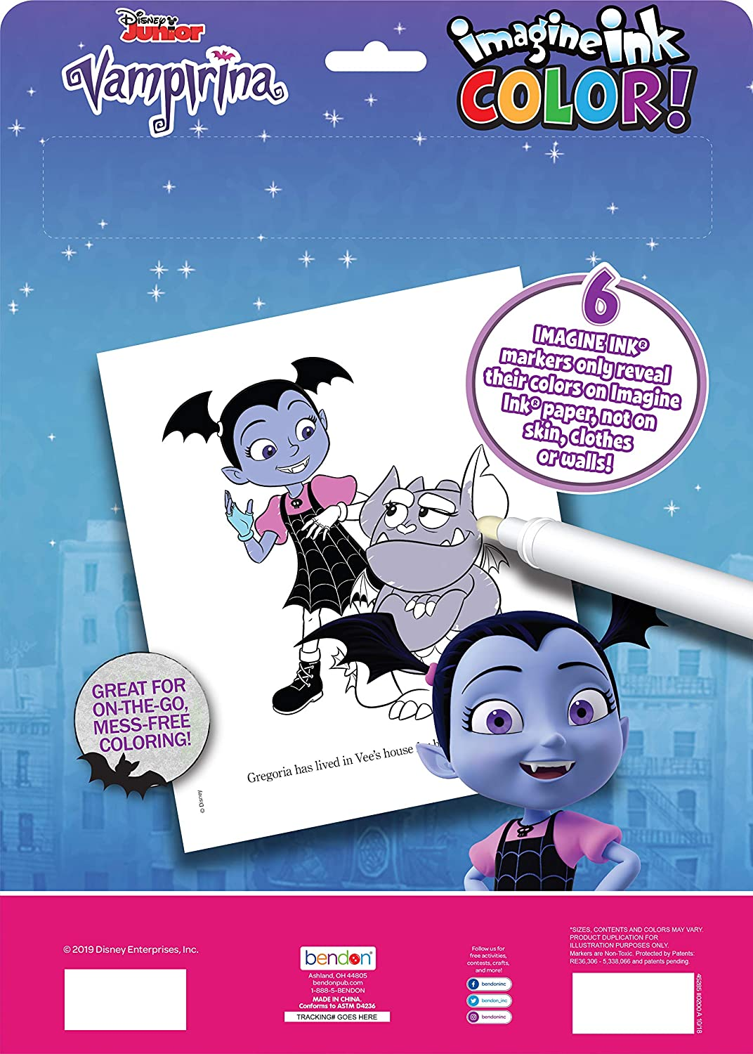 Includes 6 Markers 45828 Bendon Vampirina Imagine Ink Color Pad 45285 Multicolored