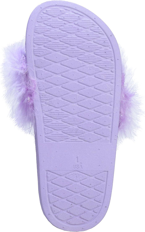 Pupeez Girls Faux Fur Slip On Slide Sandal Slippers