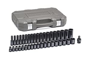 "GEARWRENCH 84948N 39 Pc. 1/2"" Drive 6 Point Standard & Deep Impact Metric Socket Set, Black"