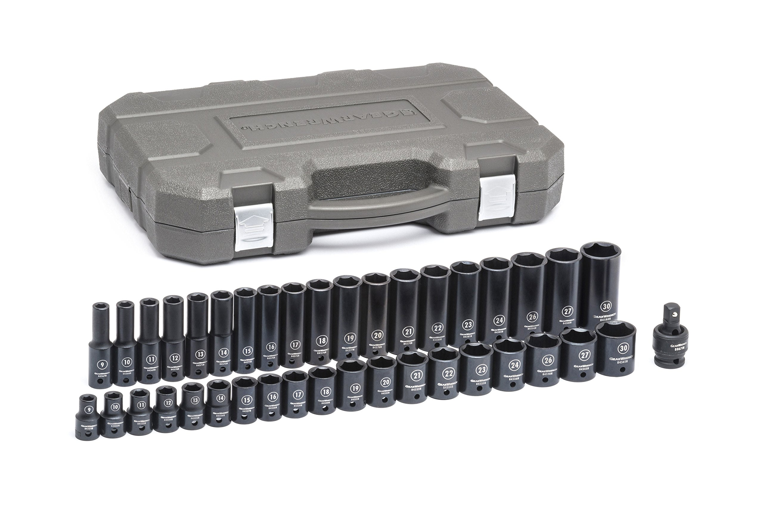 GearWrench 84948N 39 Pc. 1/2'' Drive 6 Point Standard & Deep Impact Metric Socket Set, Black