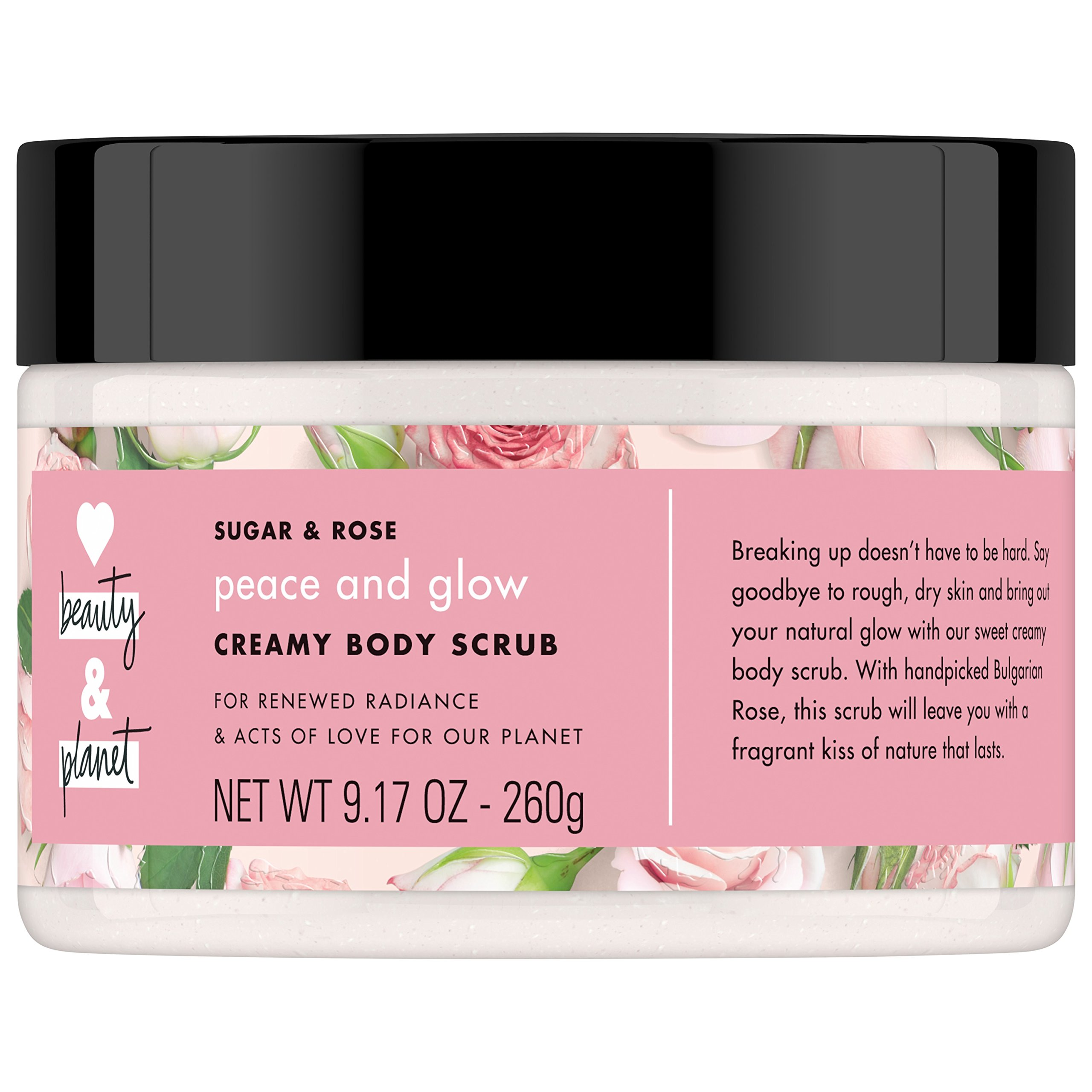 Love Beauty Planet Peace & Glow Sugar and Rose Body Scrub 9.17 oz