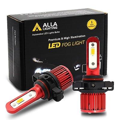 Alla Lighting 5200lm AL-R 2504 PSX24W LED Yellow Fog Lights Bulbs Xtreme Super Bright 2504 PSX24W LED Bulb 12V LED 2504 PSX24W1 Bulb Upgrade for Cars, Trucks w/ 12276 2504 Fog Light: Automotive