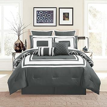Amazon Com 12 Piece Bernard Gray Comforter Set With Sheets Cal