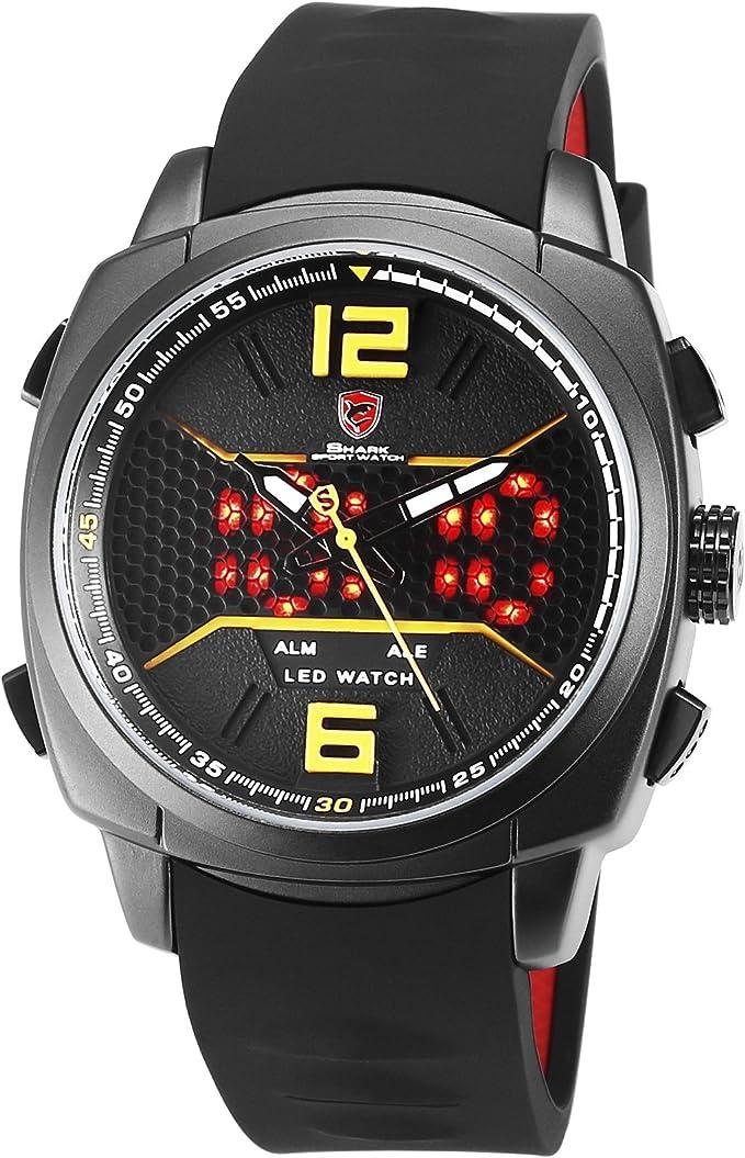 SHARK Hombre Deportivos Cuarzo Relojes de Pulseras Silicona LED Fecha día Mostrar Alarma Manos Luminosas SH489