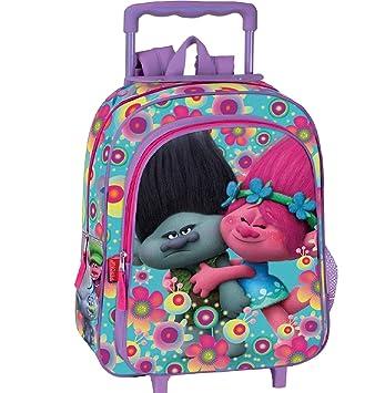 Trolls Cooper - Mochila infantil con carro Poppy y Ramón, 37x29x11 cm