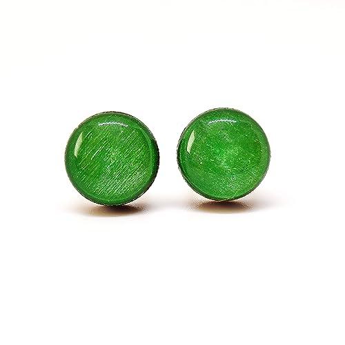 Handmade beaded Earrings Green 58 x 10 mm