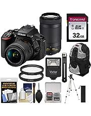$630 Get Nikon D5600 Wi-Fi Digital SLR Camera with 18-55mm VR & 70-300mm DX AF-P Lenses with 32GB Card + Backpack + Flash + Tripod + Kit