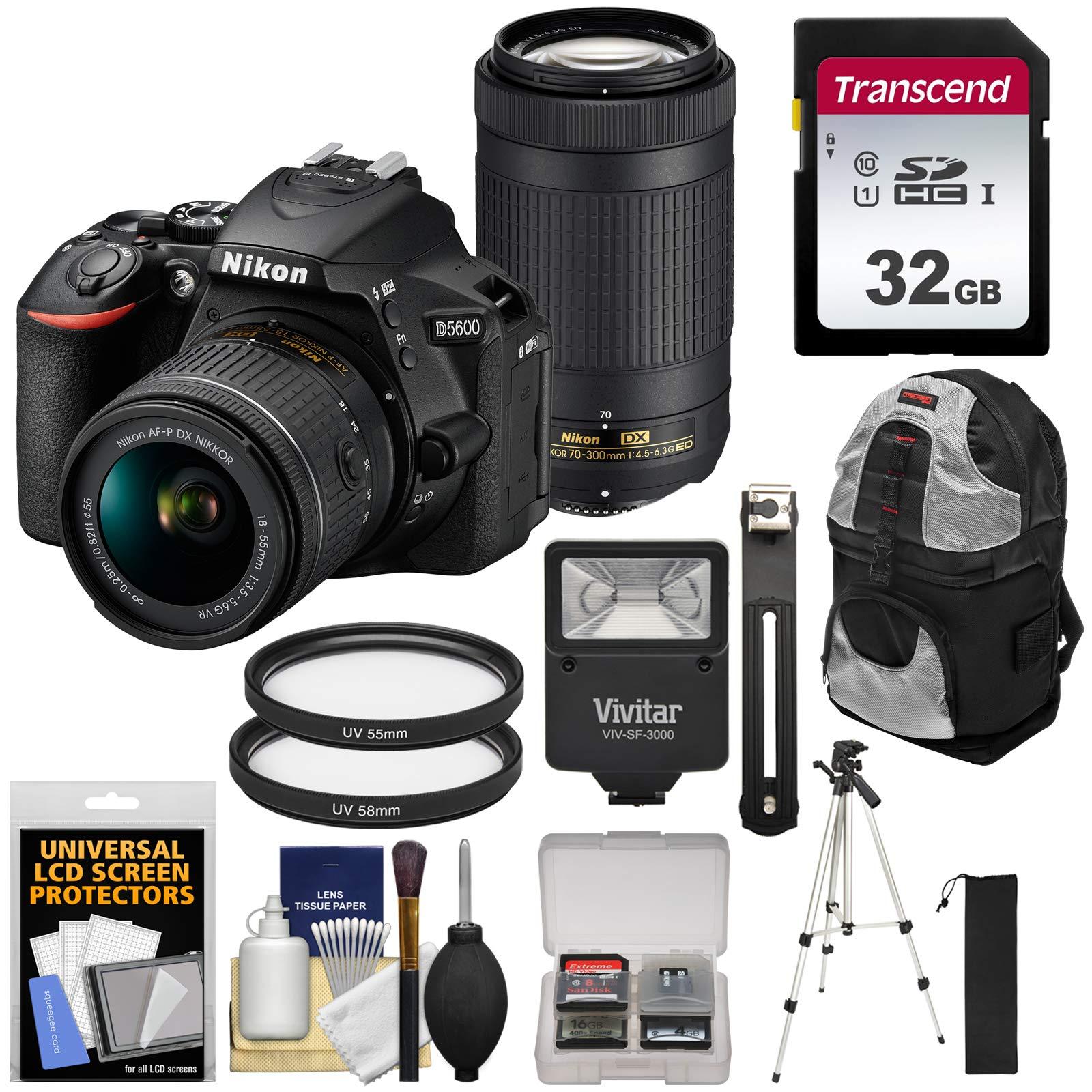 Nikon D5600 Wi-Fi Digital SLR Camera with 18-55mm VR & 70-300mm DX AF-P Lenses with 32GB Card + Backpack + Flash + Tripod + Kit