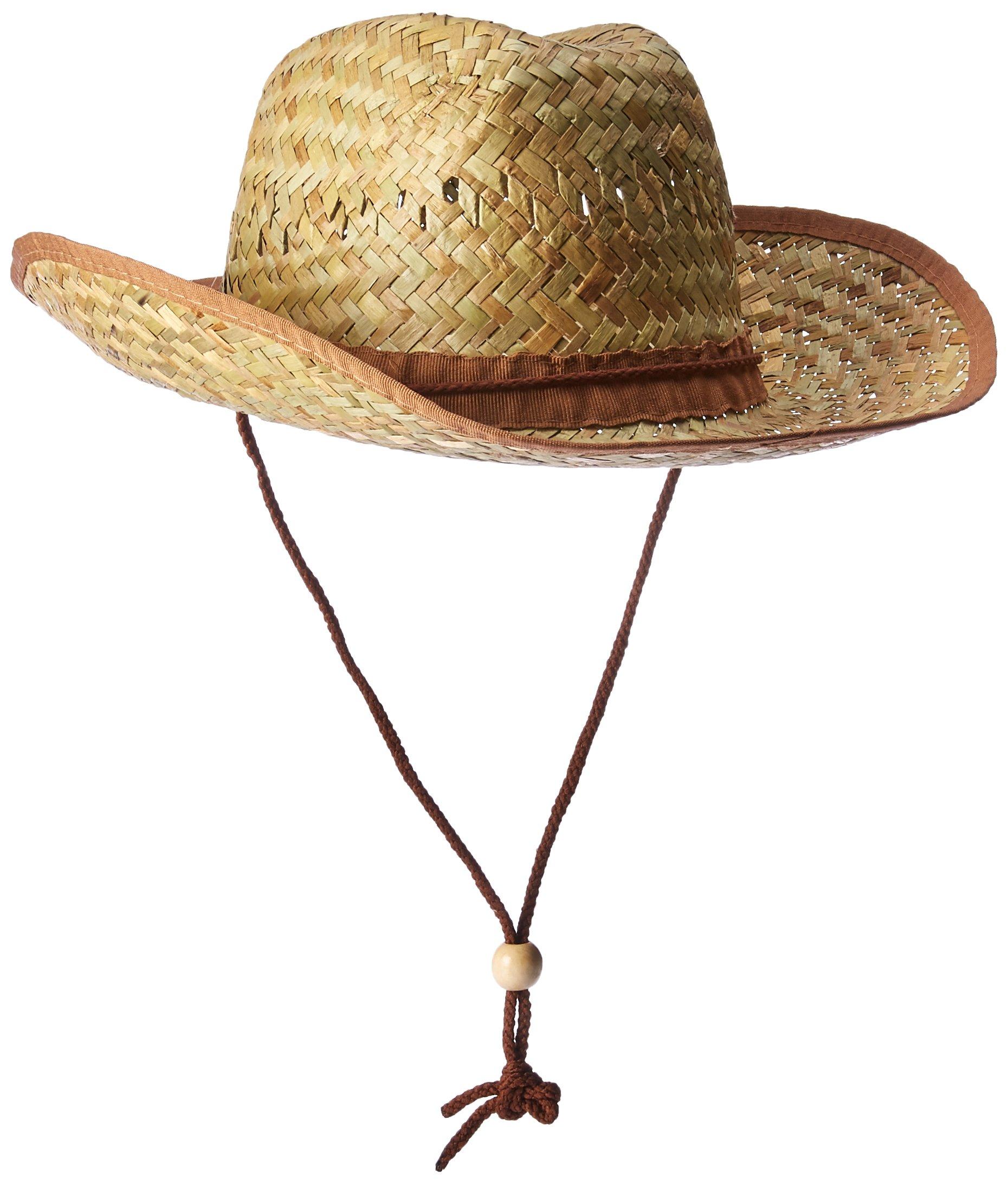 Amscan Beach Bum Cowboy Hat Hawaiian Summer Luau Costume Dress up Party Headwear, Straw, 10'' x 15'' x 5''. Childrens (6 Piece)