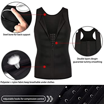 7e4b103ecf5 Amazon.com  Voncheer Mens Slimming Body Shaper Vest Compression Sauna Sweat  Waist Trainer Corset Shapewear with Zipper for Weight Loss  Clothing