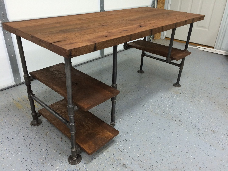 Reclaimed Wood Desk Table - Rustic Solid Oak W/28