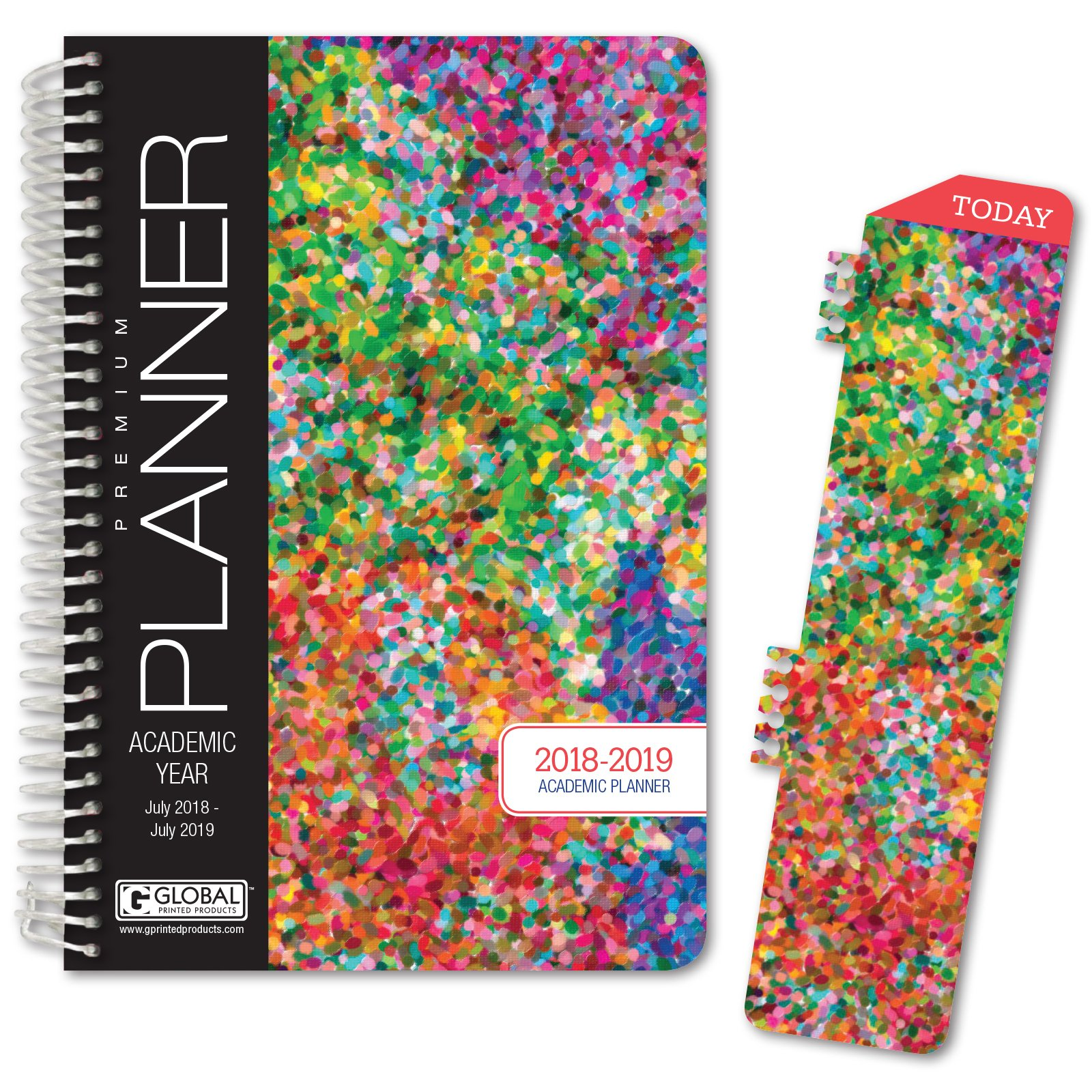 HARDCOVER Academic Year Planner 2018-2019 - 5.5''x8'' Daily Planner / Weekly Planner / Monthly Planner / Yearly Agenda. Bonus BOOKMARK (Colorful)