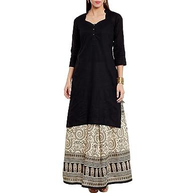 e731e235af0 ShalinIndia Womens Black Kurta With Ethnic and Tribal Motifs Skirt ...