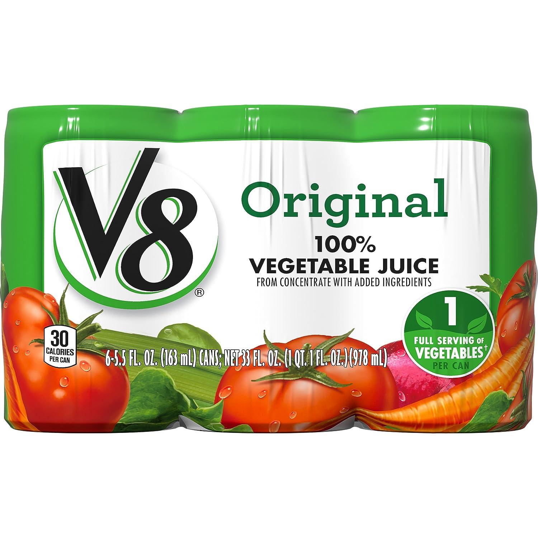 amazon com v8 100 vegetable juice original 5 5 ounce pack of 6