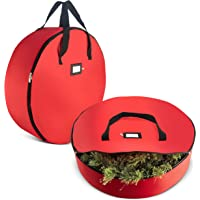 "ZOBER Christmas Wreath Storage Bag - Premium 420D Oxford Tear Resistant Fabric Bag Artificial Christmas Wreath Zipper Featuring Transparent Card Slot Labeling   30"" x 30"" x 8"""