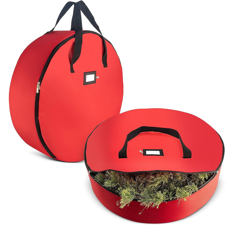 "Zober Christmas Wreath Storage Bag - Premium 420D Oxford Tear Resistant Fabric Bag for Artificial Christmas wreaths with Zipper 30"" x 30"" x 8"" Green ZCDP-101-grn"