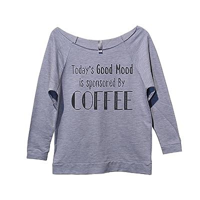 "Womens Funny Sweatshirt ""Todays Good Mood Sponsored By Coffee"" Funny Threadz"