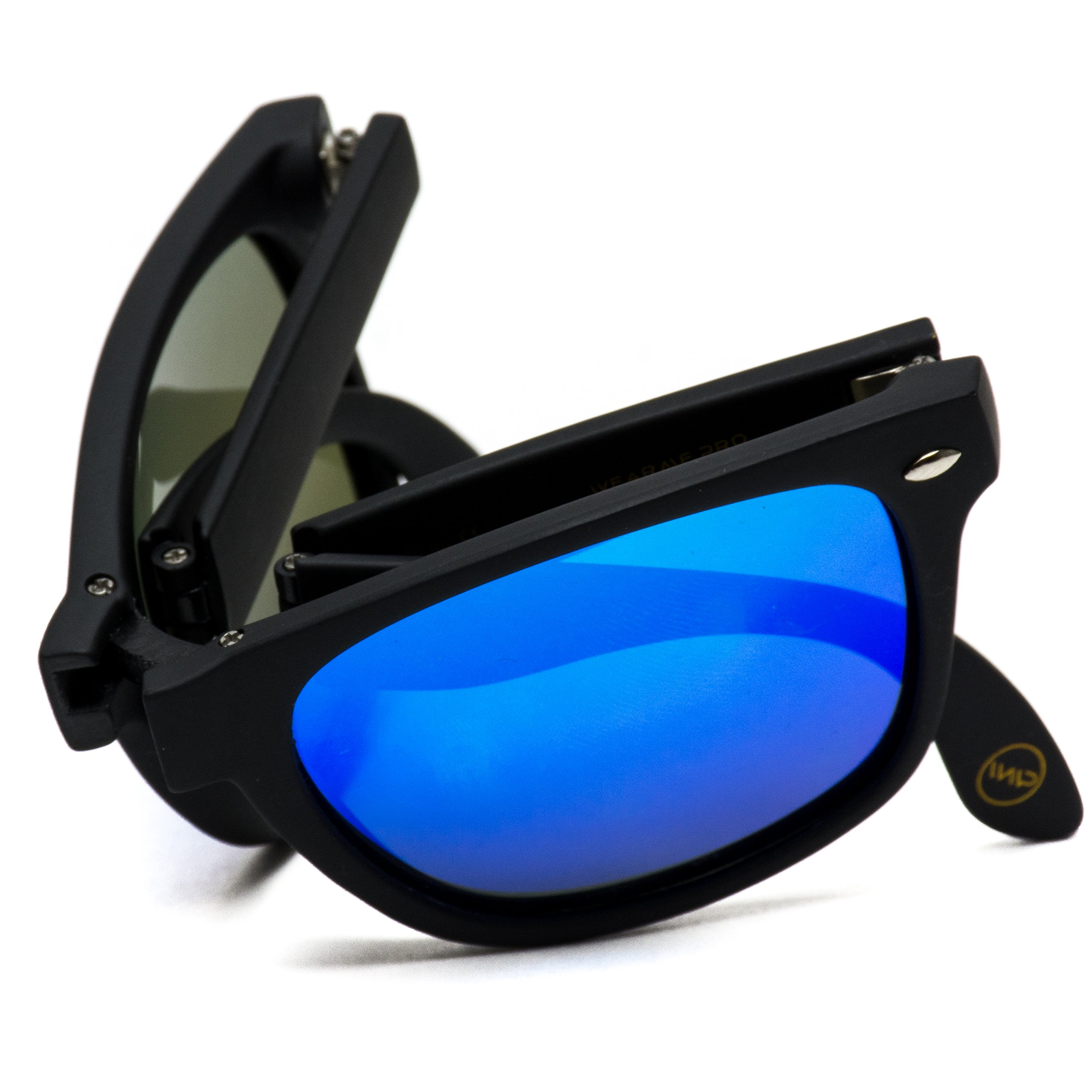Modern Black Square Foldable Sunglasses with Case (Black Frame/Mirror Blue Lens) by WearMe Pro