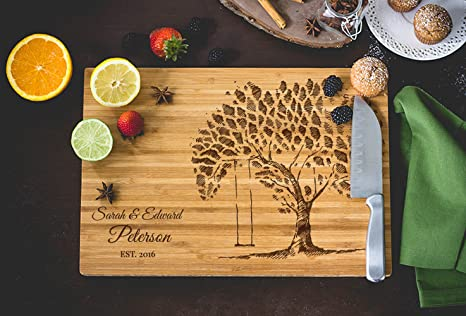 amazon com tree sketch with rope swing laser engraved cutting board