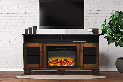 Cambridge CAM6022-1WALLG2 Savona 59 In. Electric Fireplace in Walnut with Entertainment Stand and Enhanced Log Display