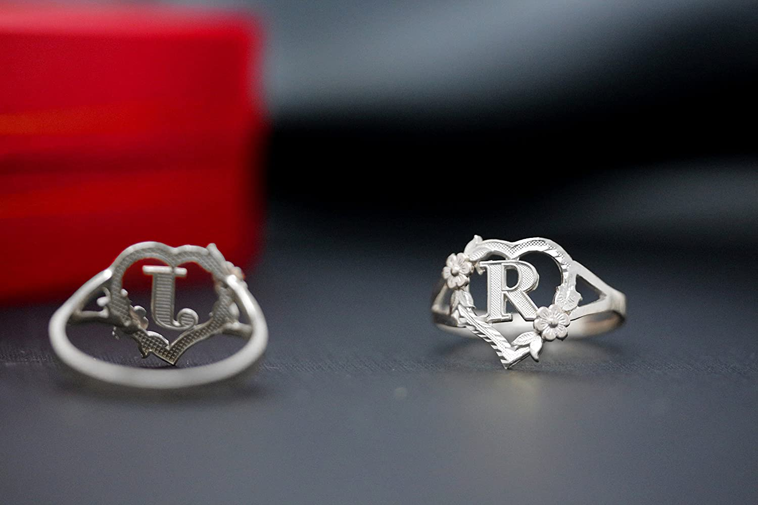 Letter Y CaliRoseJewelry Silver Initial Alphabet Personalized Heart Ring