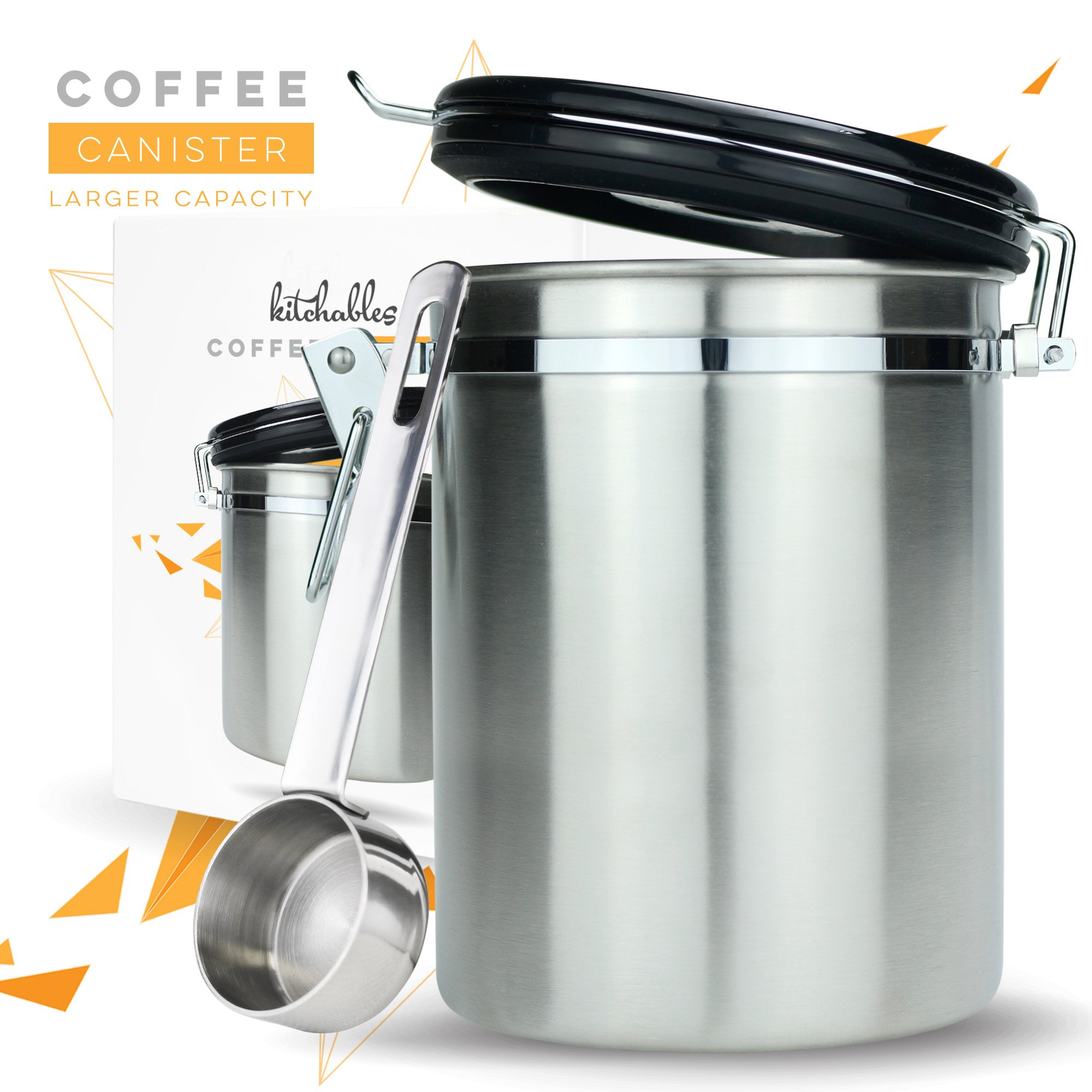 Coffee Canister (Large) Airtight Seal Set with Scoop - Stainless Steel Kitchen Storage Container with AirFresh Valve Technology (Vienna Silver)