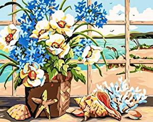 Ritoti Paint by Numbers Kits for Adults Beginners DIY Canvas Oil Painting with Acrylic Pigment and Brushes Unframed for Perfect Home Decor (16x20 Inch,Sea Sound)