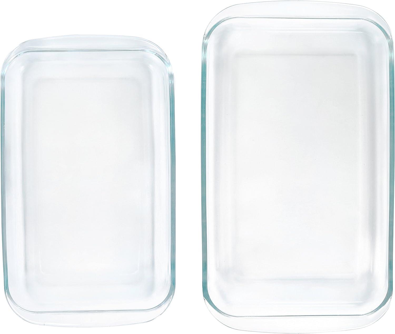 Amazon.com: AmazonBasics - Juego de 2 bandejas de vidrio ...